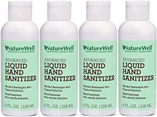 NatureWell Fragrance-Free, Advanced Liquid Hand Sanitizer, 4 Oz Each (4 Pack)