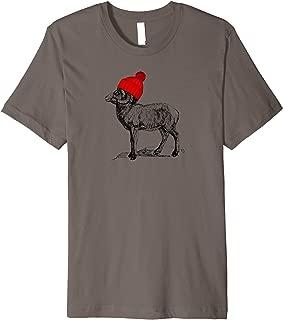 Mountain Goat Wearing a Beanie Stocking Hat Wildlife Design Premium T-Shirt