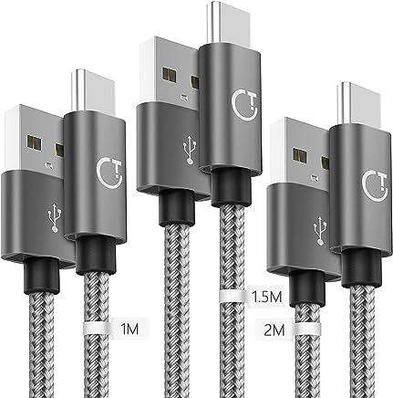 Gritin USB C Kabel, Typ C Kabel, 3 Pack [1m+1.5m+2m] Datenkabel Nylon Geflochtene Robust stabil Datenübertragung für Typ C Geräte 2018