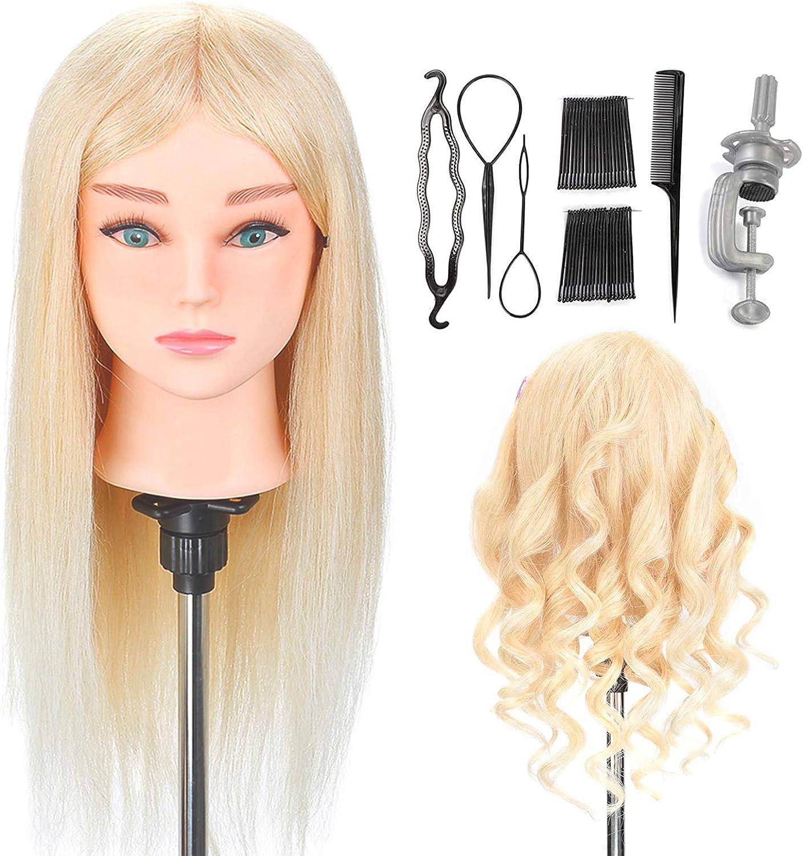 Cabeza de peluquería Neverland,Maniquí de entrenamiento de pelo 100% natural Modelo de muñeca de peluquería con accesorios+pinza