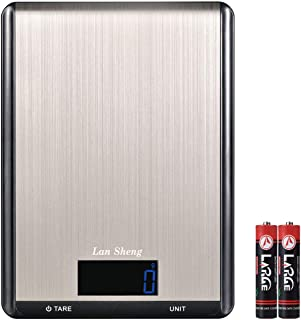 Digital Food Scale- LanSheng 22lbs/10kg Multifunction Precision Kitchen Scale, 7 units/Auto-off/with LCD Display/stainless steel Surface/Touch button/for Cooking (Batteries Included)
