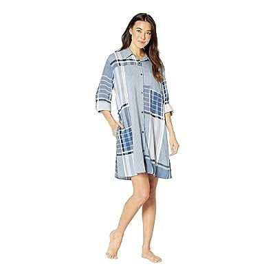 Donna Karan Long Sleeve Sleepshirt (Petrol Plaid) Women