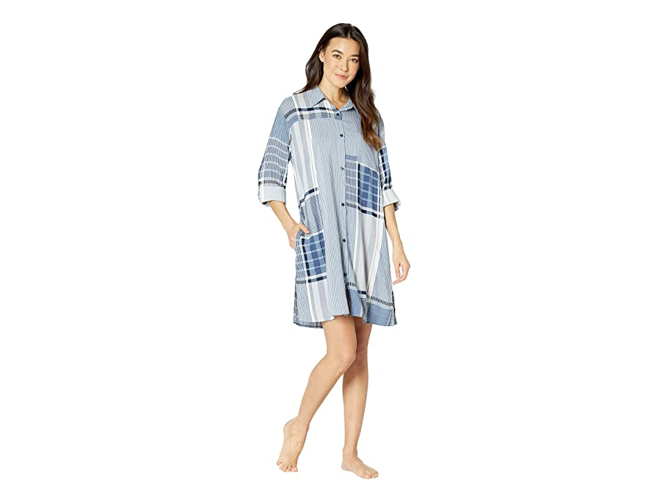 Donna Karan Long Sleeve Sleepshirt (Petrol Plaid) Women
