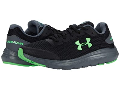 Under Armour Kids Surge 2 (Big Kid) (Black/Pitch Gray/Laser Green) Boys Shoes