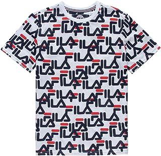 97b3f2f80d26 Fila Allover Logo White   Blue Boys T-Shirt