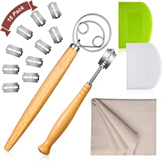 16 Pieces Bread Baking Tool Set, Bread Lame Includes 10 Replacement Blade, Double Eye Danish Dough Whisk, Plastic Dough Scraper and Large Size Dough Couche Proofing Cloth for Hand Crafted Bread Making