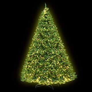 8FT LED Christmas Tree 2.4M Prelit Xmas Faux Green Tree w/ Warm White LED Jingle Jollys Holiday Lighted Decoration Indoor ...