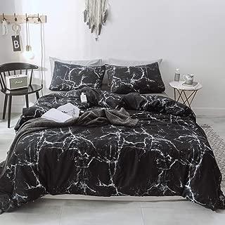 Duvet Cover Set 100% Natural Cotton Comforter Cover Black Marble Reversible Design with Zipper Closure Bedding Set(Full/Queen, Black)