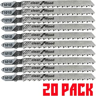 20PACK T101B T-Shank Contractor Jig saw Blades - 4 Inch 10 TPI Jigsaw Blades Set- Made for High Speed Carbon Steel, Clean and Precise Straight Cutting Wood Boards PVC Plastic