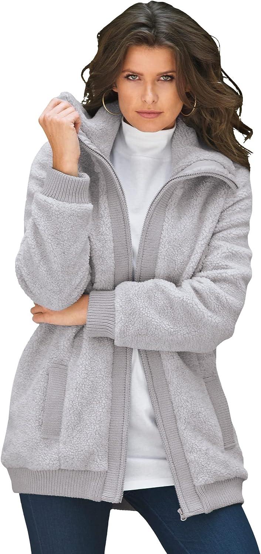Roaman's Max 50% OFF Women's Plus Size Textured Bomber Coat Fleece Ranking TOP9