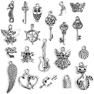 100 Pcs Charms for Necklace Pendant Bracelets Making, Spacer Beads for Jewelry Making, Keychain Charms Accessories for Women, Men Tibetan Silver Metal Charms