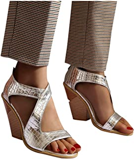 Corriee Womens Summer Elegant Open Toe Roman Sandals Back Zipper Wedges Platform Shoes Ladies Party Sandal