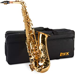 LyxJam Alto Saxophone - E Flat Brass Sax Beginners Kit, Mouthpiece, Neck Strap, Cleaning Cloth Rod, Gloves, Hard Carrying Case w/ Removable Straps, Maintenance Guide - 1 BONUS Reeds.