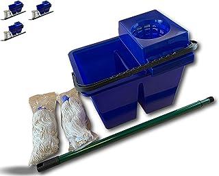 Kit lave sol pro double compartiment | Lot de 3 | Nettoyage des sols | Serpillère à franges x 2 | Manche télescopique | Se...