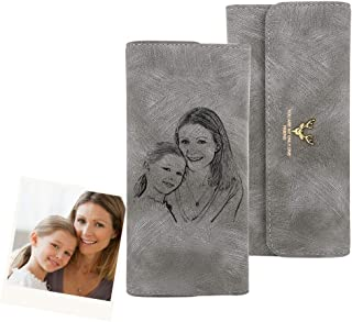 SOUFEEL Personalized Photo Wallets for Women with Picture PU Leather Elk Antler Slim Thin Custom Women's Photo Engraved Tr...