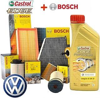 Kit Tagliando 4filtros aceite BOSCH + 5L Castrol EDGE Professional Longlife III 5W30(Filtros 1457429192, 1457070007, 1457070013, 1987429404, 1987432397)