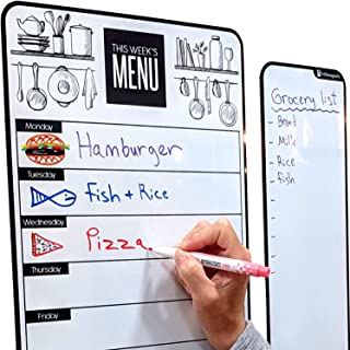 """Cute 10""""x16"""" Magnetic Dry-Erase Weekly Menu Planner for Kitchen Fridge (with 8 Whiteboard Markers) & Free Bonus - Grocery/... photo"""