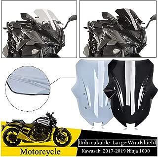 FATExpress Large Tall Windshield for 2017 2018 2019 Kawasaki Ninja 1000 Z1000SX Motorcycle Unbreakable ABS Plastic Windscreen Fairing Wind Shield Screen Protector 17-19 (Smoke)