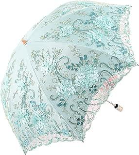 Vintage Lace UV Sun Parasol Folding 3D Flower Embroidery Umbrella BM1618 Blue