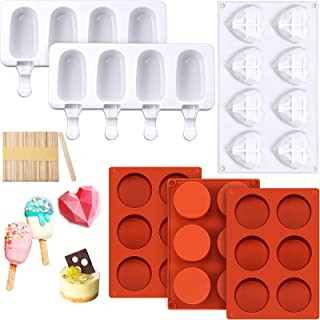 3 Pieces Round Cylinder Candy Molds 8 Cavities Diamond Heart Mold Silicone Heart Shaped Cake Mold, 2 Pieces Silicone Popsi...