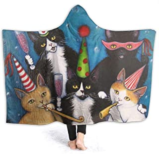 AMITAYUS Cute Cat Party Hooded Blanket Throw Wearable Super Soft Lightweight Sherpa Fleece Warm Microfiber Blanket for Bed Couch Travel 50X40 for Kids