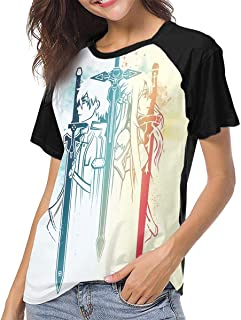 Sword Art Online Women's Raglan Short Sleeve Baseball T-Shirts Top