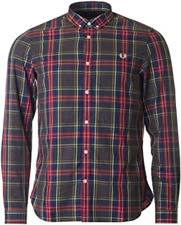 FRED Perry Camicia con motivo a Plaid Tartan FRED PERRY Polo Da Uomo Taglia Small £ 70
