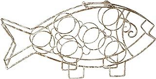 Antique Gold Fish Wine Rack-Free Standing Wine Rack-Beautiful 6 Bottle Wine Storage with Handle