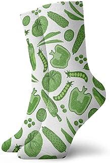 tyui7, Frutas Verduras Verdes Patrón Calcetines de compresión antideslizantes Cosy Athletic 30cm Crew Calcetines para hombres, mujeres, niños
