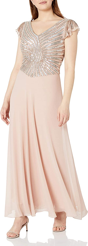 J Kara Women's Petite Pull on Long Dress with Beads