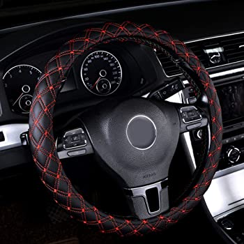 Universal PU Leather Car Steering Wheel Cover Black /& Red Stitching 38cm 15inch