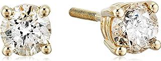 14金イエローゴールド スクリューバックポスト付 ダイヤモンド スタッドピアス(0.5ct J-Kカラー,I2-I3クラリティ) ERBYG-050-OBS