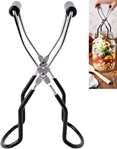 Eeoyu Canning Jar Lifter Tongs Stainless Steel Jar Lifter with Grip Handle for Home Kitchen (Black)