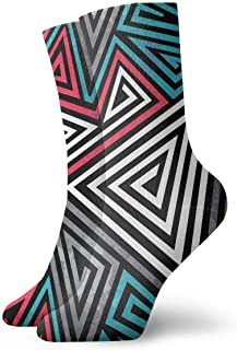 Triángulo espirales de patrones sin fisuras hombres calcetines deportivos casuales atléticos de 30 cm para mujeres