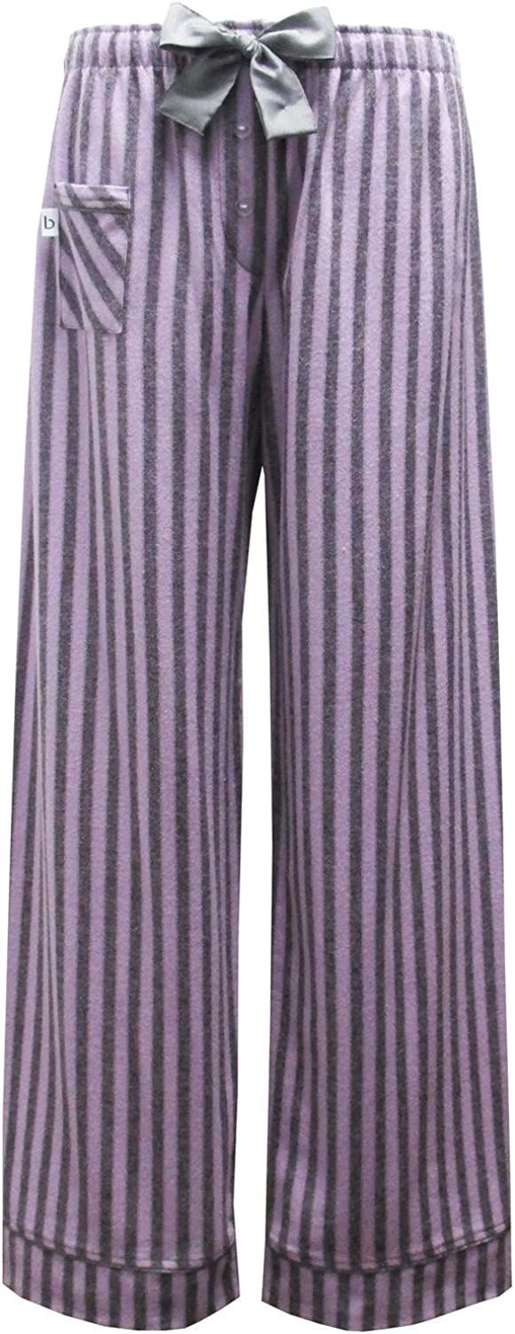 Boxercraft Womens Cotton Flannel Striped Sleep Pants, Large (1113), Purple and Grey Striped Fantasy