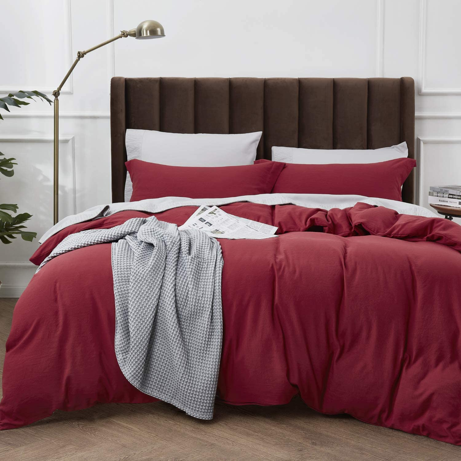 Bedsure Duvet Cover King Size with Zipper Closure, Ultra Soft Hypoallergenic Washed Comforter Cover Sets 3 Pieces Burgundy