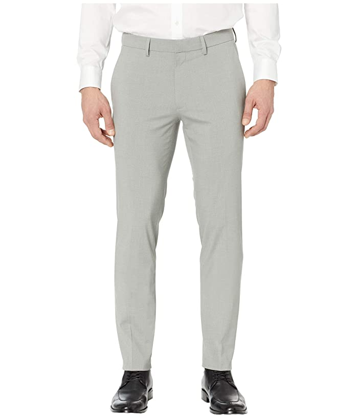 Kenneth Cole Reaction  Heather Glen Plaid Slim Fit Flat Front Flex Waist Dress Pants (Grey) Mens Casual Pants