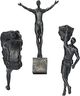 Olpchee 3PCS Man Climbing Wall Sculpture Resin Art Sculptures Home Decor Modern 3D Wall Sculpture Statue Figure Kit for Home