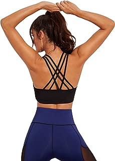 MAKEMECHIC Women's Strappy Sports Bra Criss Cross Back Yoga Workout Crop Top