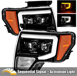 AlphaRex Polished Black For 09-14 Ford F150 LED Tube Dual Projector Headlights with Switchback DRL/Sequential Signal/Activation Light