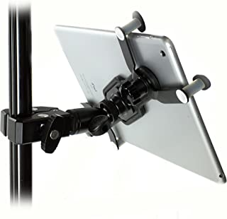iShot G7 Pro iPad Pro 12.9/11 / 9.7/10.5 Metal Tripod Mic Music Stand Mount + HD Metal Pipe Pole Bar Clamp with 360° Swivel Ball - Works with Cases - Compatible with All iPads and Tablets 7