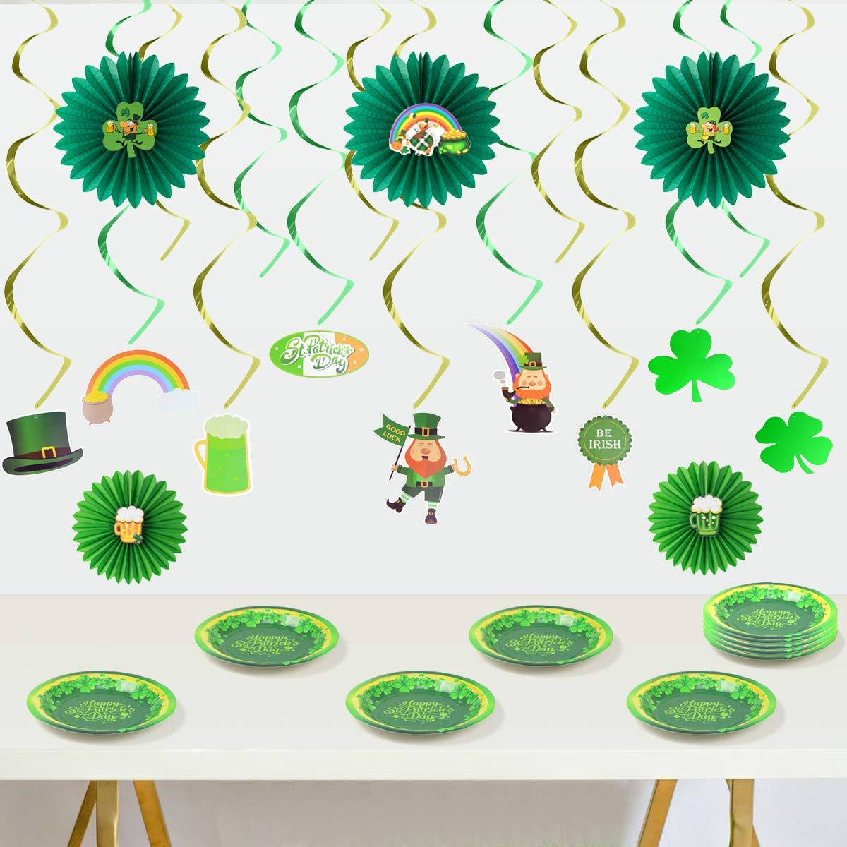 JOYIN St Patricks Day Colorful Foil Hanging Swirls with Lucky Irish Green Shamrock and Leprechauns Saint Patricks Pot-O-Gold Centerpiece Tissue St Patricks Poms Party Decorations