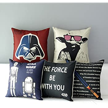 "TavasDecor 17"" Star Wars Home Sofa Chair Couch Decorative Throw Pillow Case Cushion Cover - Bundle 5 Pieces Bonus w/Galactic Empire Patch"