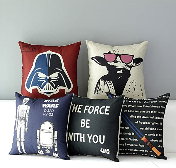 TavasDecor 17 Star Wars Home Sofa Chair Couch Decorative Throw Pillow Case Cushion Cover Bundle 5 Pieces One Set