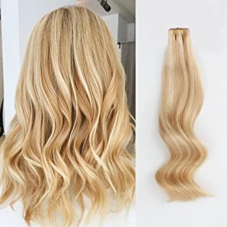 ABH AmazingBeauty Hair Pre-taped 50g 20pcs Highlights Tape Hair Extensions Real Remy Human Hair Skin Weft, Invisible, Seamless, Dirty Blonde with Platinum Beach-Bleached Blonde P18-613, 20 Inch
