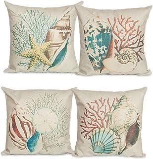 TaoNaisi Juego de 4 fundas de cojín de lino y algodón diseño de océano 457 x 457 cm