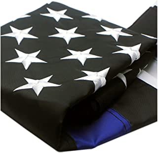Best VSVO Thin Blue Line American Police Flag 4x6 ft - Embroidered Stars and Sewn Stripes with Grommets Black White and Blue USA Flags Review