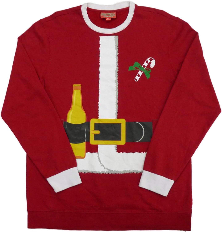 Holiday Fleece Mens Big & Tall Red Santa Beer Bottle Christmas Sweatshirt LT