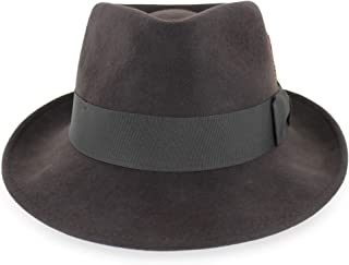 Belfry Gangster 100% Wool Stain Resistant Crushable Dress Fedora in Black Grey Navy Brown Pecan
