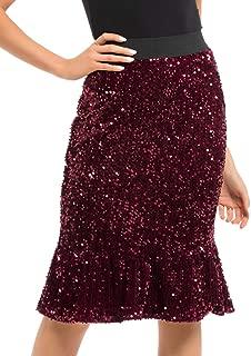 Women's Sequin Skirt High Waist Velvet Shimmer Mermaid Ruffle Party Pencil Skirt